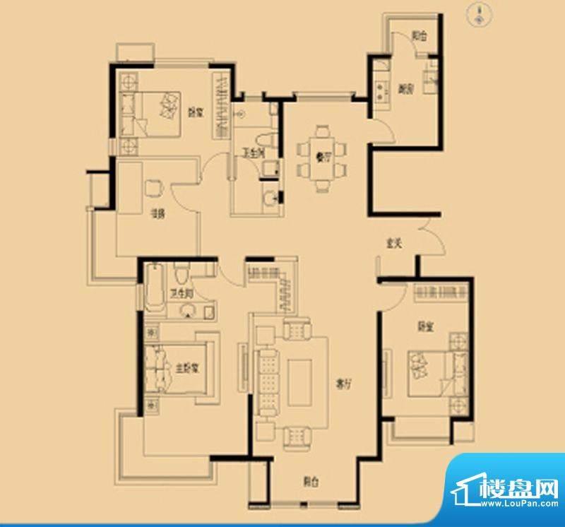 北京如意国际花园Q户面积:156.00平米