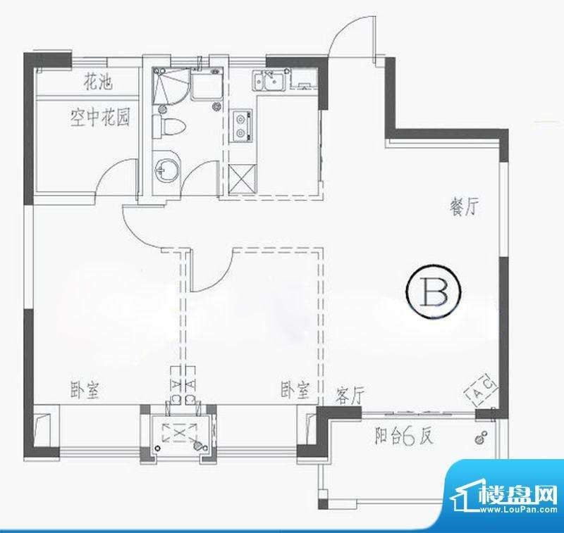 四季金辉BG户型 2室面积:88.00平米