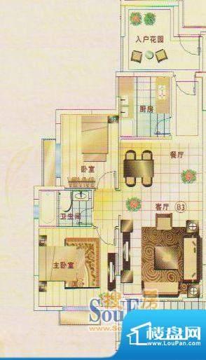 锦绣名城3幢102 2室面积:89.06m平米
