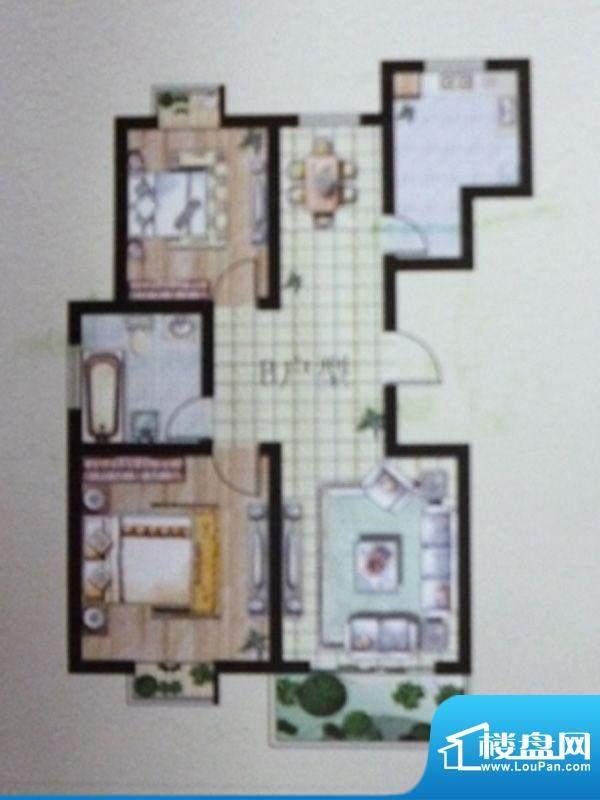 东湖嘉景B户型2室2厅面积:100.20平米