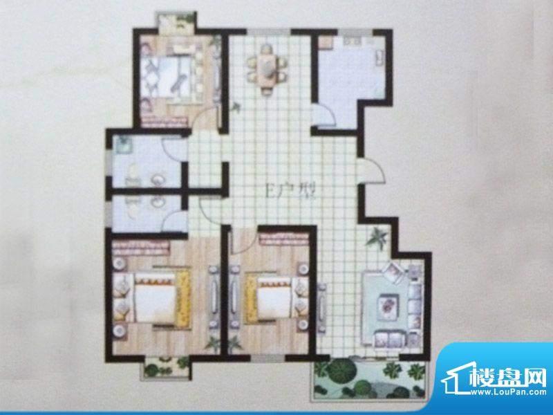 东湖嘉景E户型3室2厅面积:120.80平米
