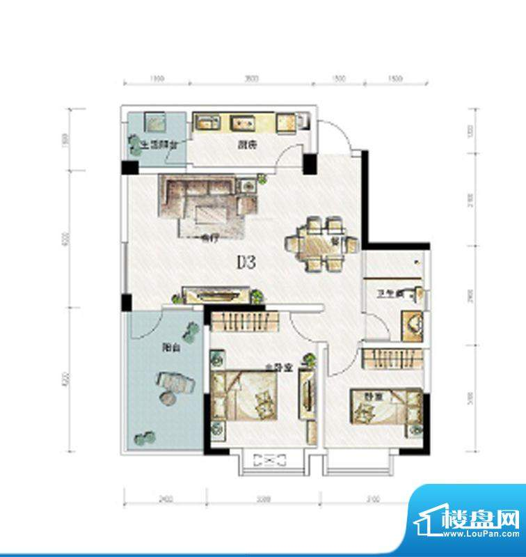锦通满庭芳三期D3-4面积:83.37平米