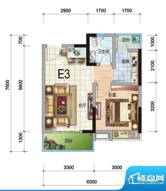 天赐中央银座E3户型面积:51.56平米