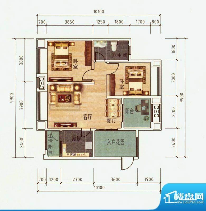中毫上层上品E户型 面积:87.85平米