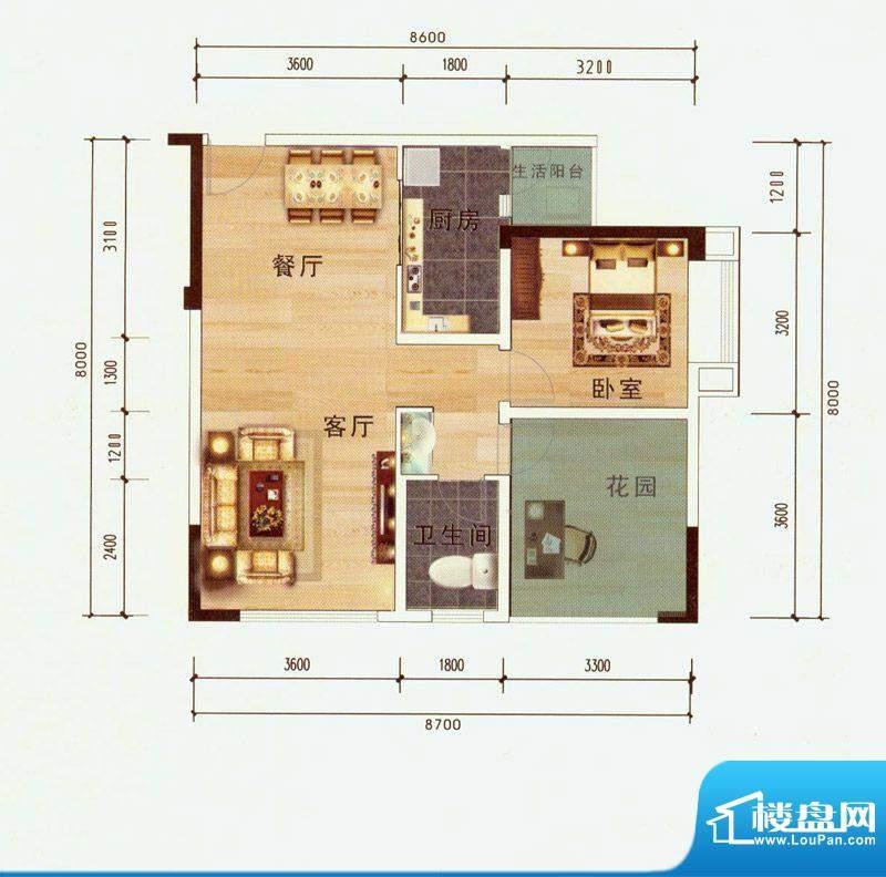 中毫上层上品G户型 面积:74.73平米
