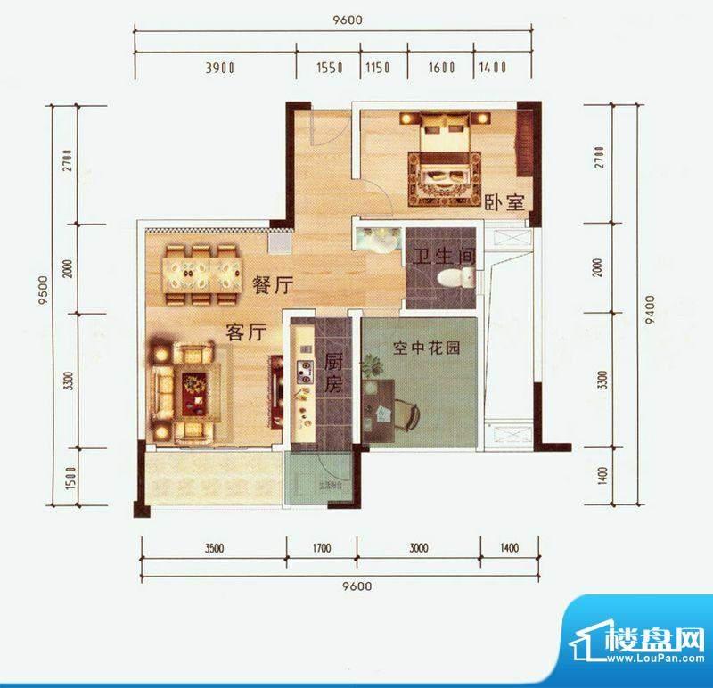 中毫上层上品H户型 面积:68.97平米