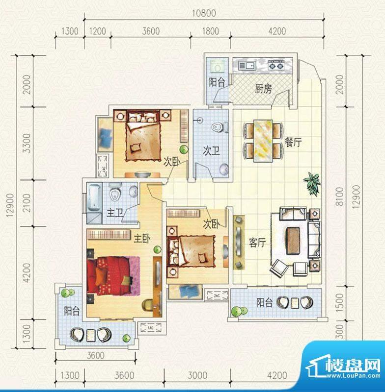 舒巢一品B2户型 3室面积:120.99平米