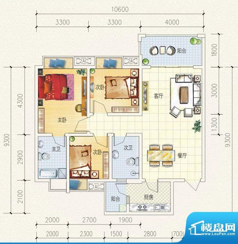 舒巢一品D1户型 3室面积:100.76平米