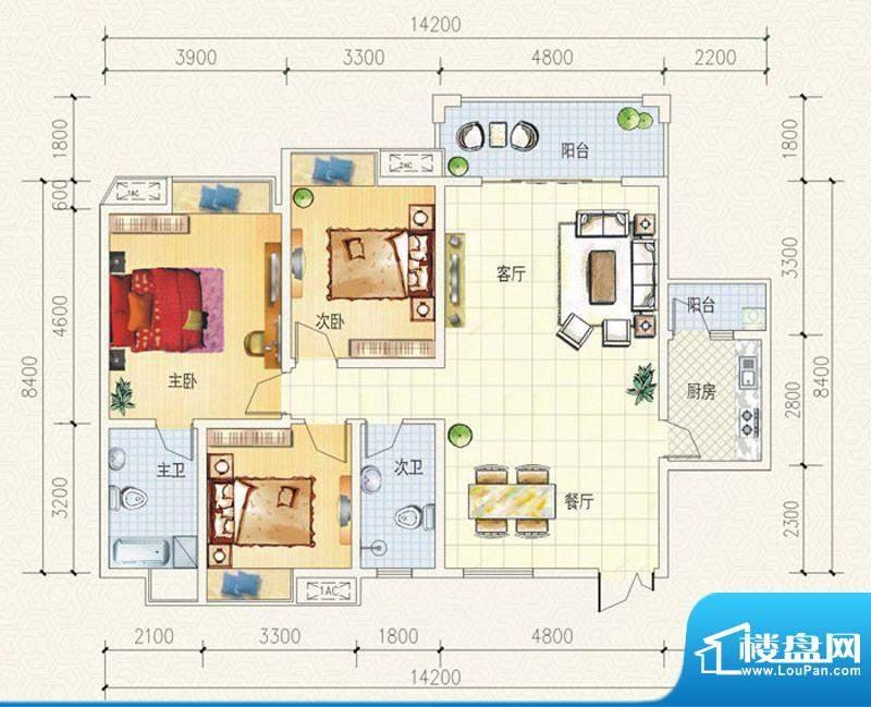舒巢一品C1户型 3室面积:128.27平米