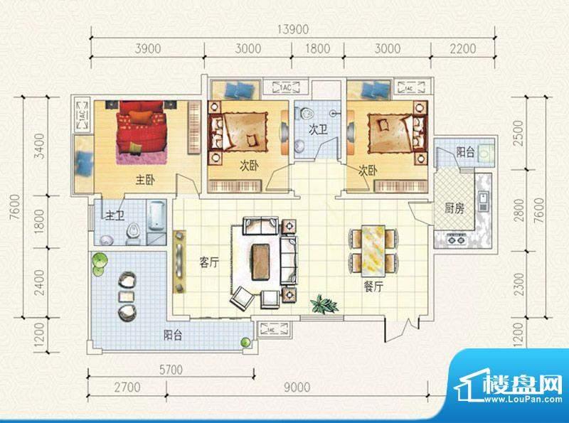 舒巢一品B1户型 3室面积:113.20平米