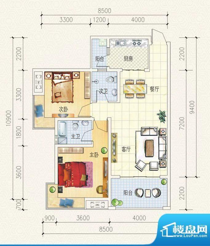 舒巢一品C2户型 2室面积:89.71平米