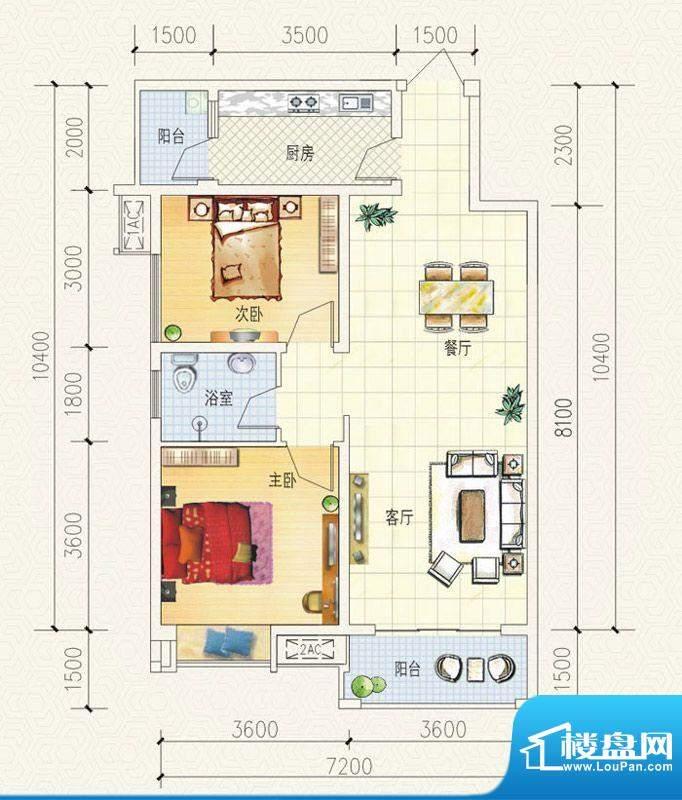 舒巢一品D2户型 2室面积:85.58平米