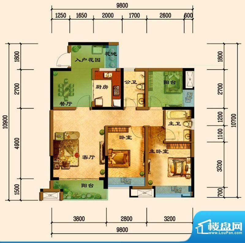 君汇上品C14户型 2室面积:89.67平米