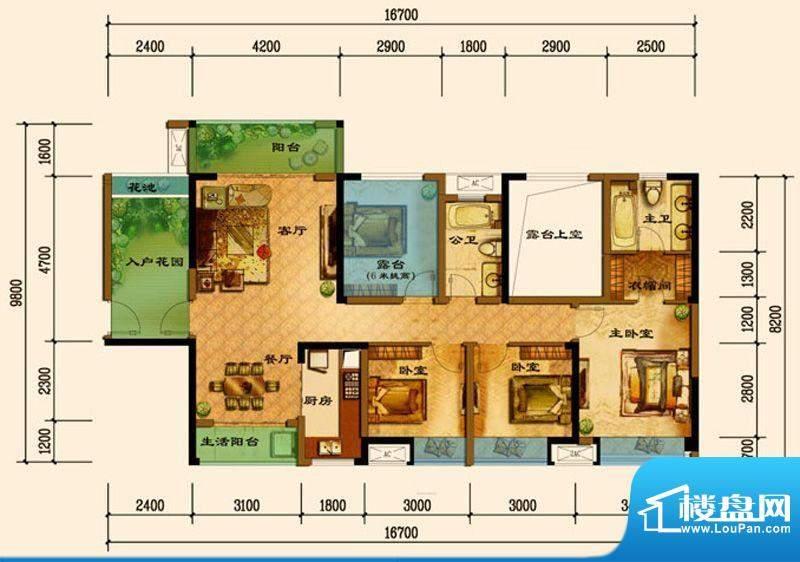 君汇上品D5户型 3室面积:119.25平米