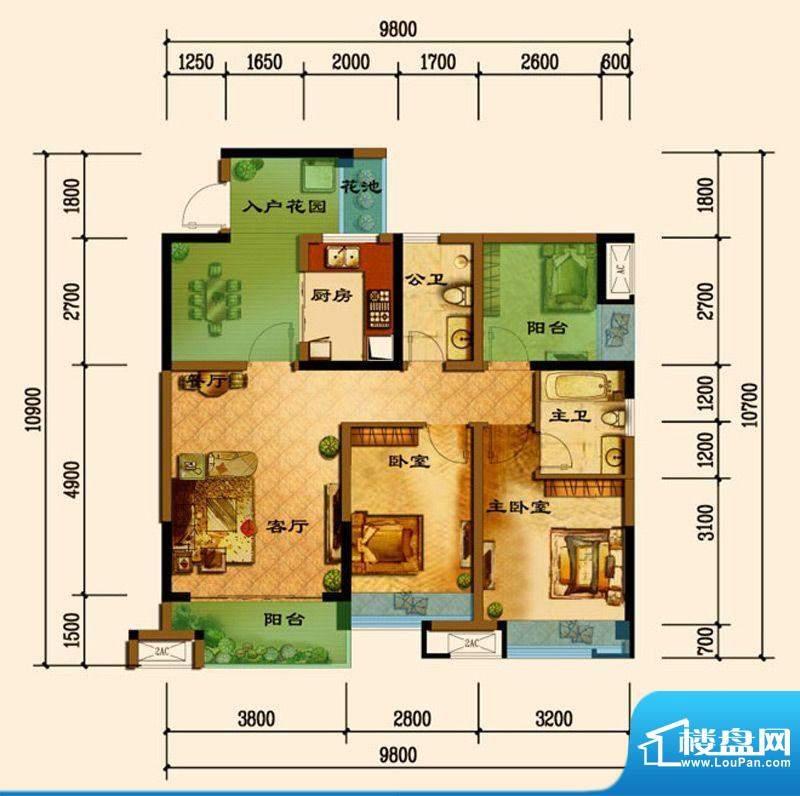 君汇上品D6户型 3室面积:89.75平米