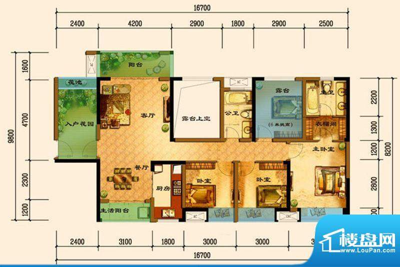 君汇上品D7户型 3室面积:119.25平米