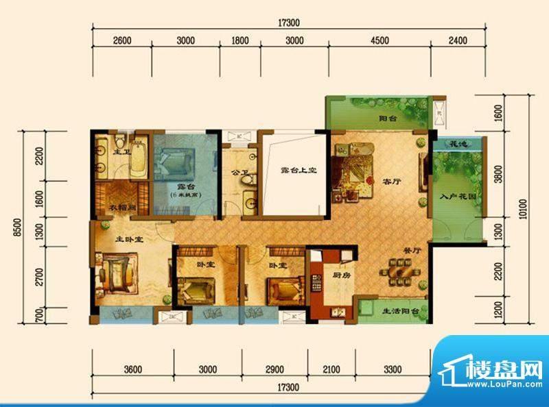君汇上品E6户型 3室面积:127.92平米