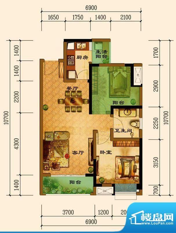君汇上品B2户型 1室面积:72.65平米