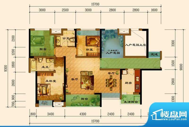 君汇上品B3户型 2室面积:108.01平米
