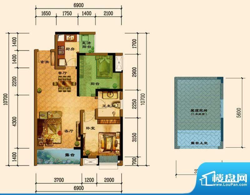 君汇上品B5顶层户型面积:69.60平米