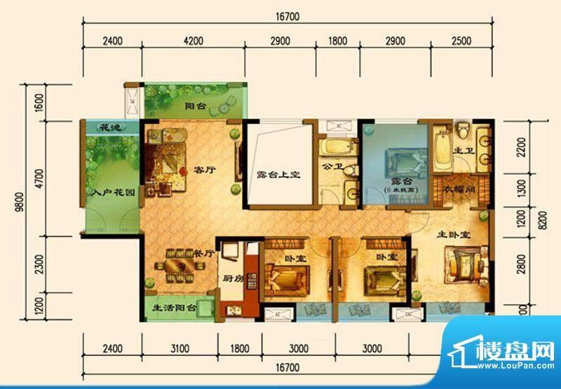 君汇上品C5户型 3室面积:119.49平米