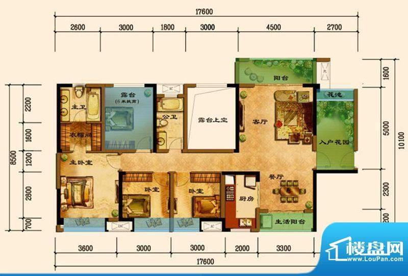 君汇上品C6户型 3室面积:128.44平米