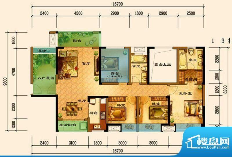 君汇上品C8户型 3室面积:119.13平米