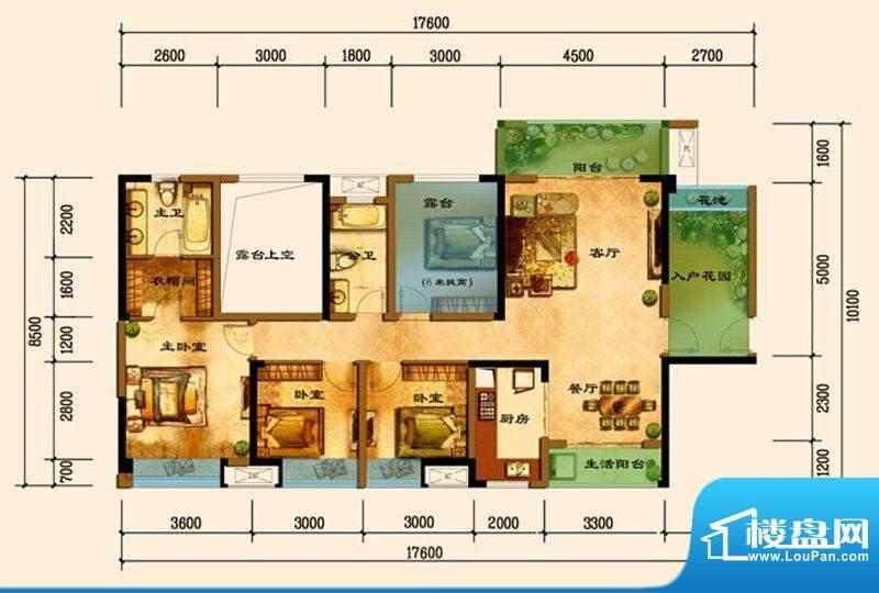 君汇上品C9户型 3室面积:128.44平米