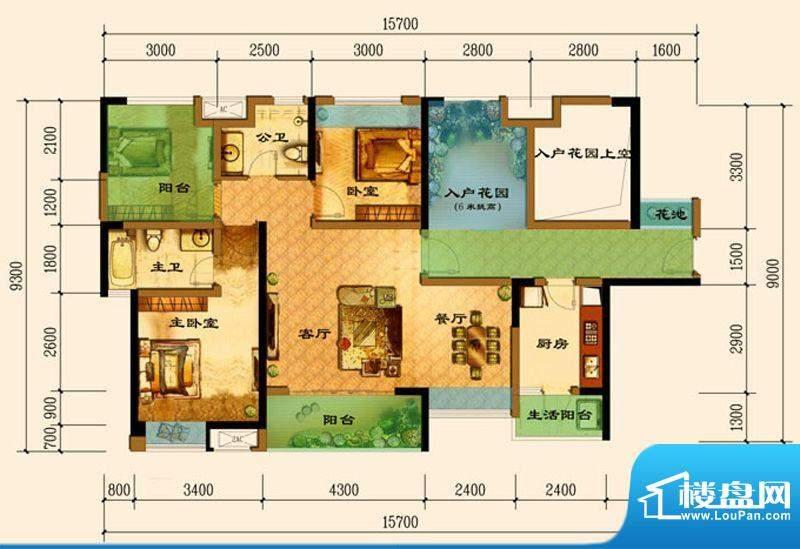 君汇上品A1户型 2室面积:108.04平米