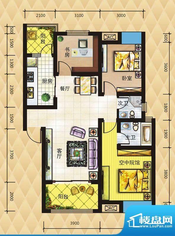 鸿升凯旋城D2 3室2厅面积:91.55平米
