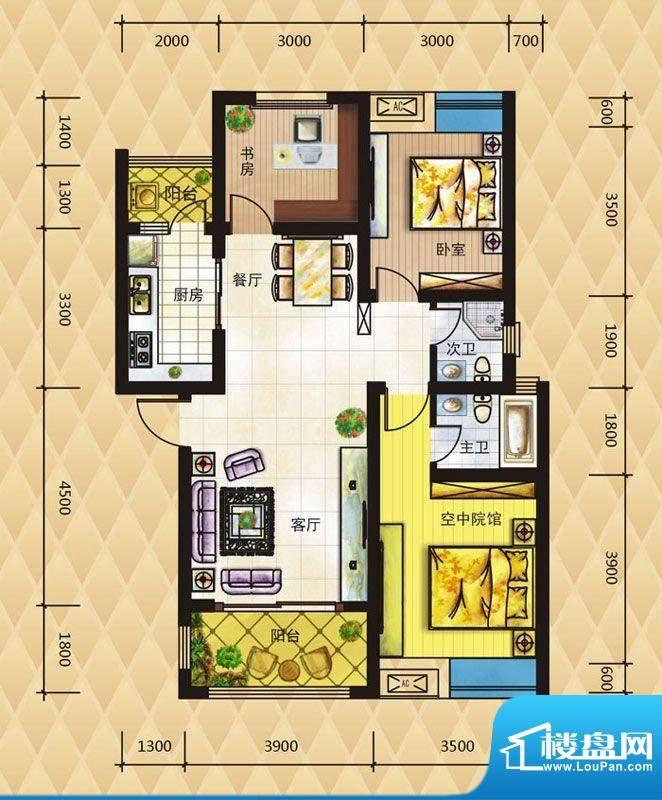 鸿升凯旋城C户型 3室面积:86.00平米