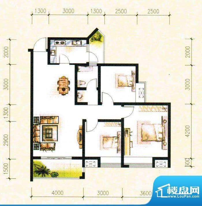 金树湾G2户型 3室2厅面积:96.75平米