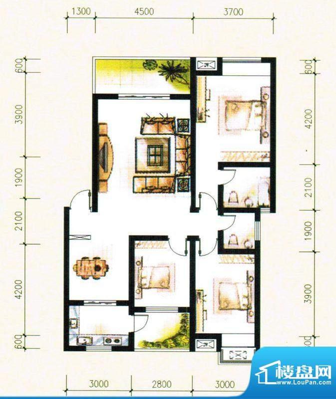 金树湾A2户型 3室2厅面积:118.06平米