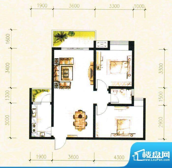 金树湾H3户型 2室2厅面积:77.71平米