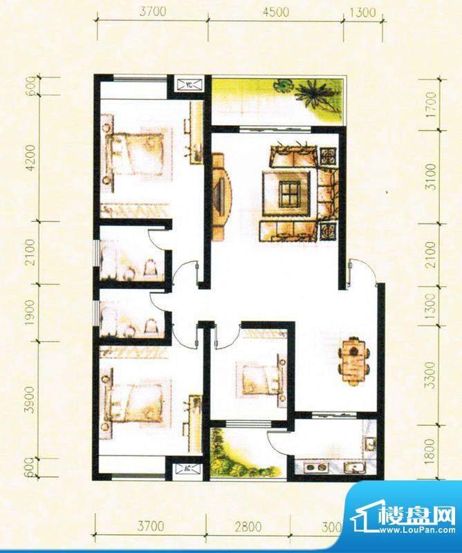 金树湾A1户型 3室2厅面积:122.54平米