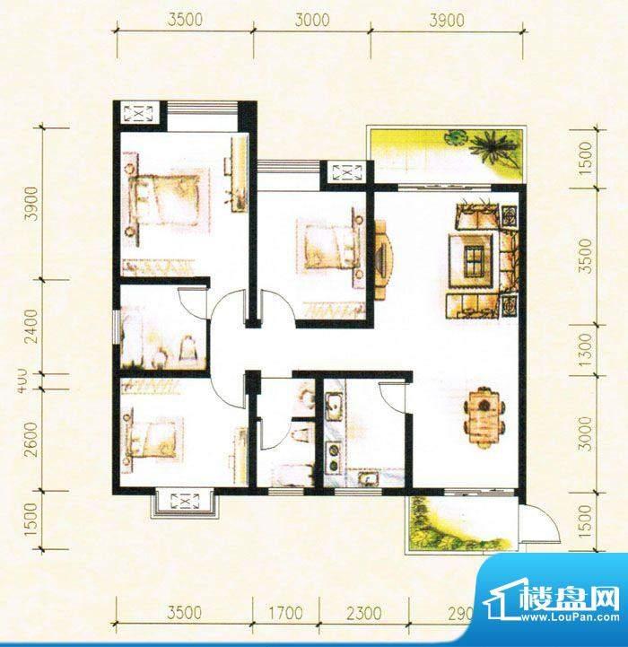 金树湾H4户型 3室2厅面积:105.93平米