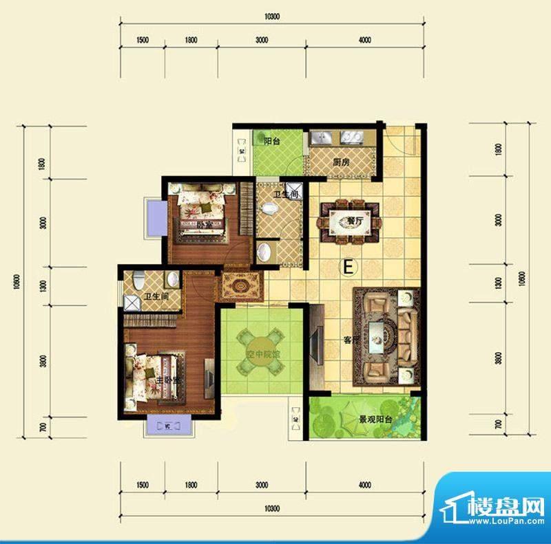印象森林E户型 2室2面积:97.82平米
