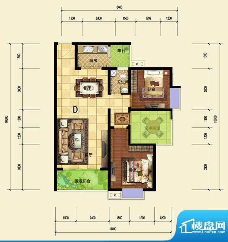 印象森林D户型 2室2面积:86.60平米