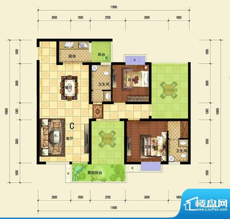 印象森林C户型 3室2面积:107.80平米