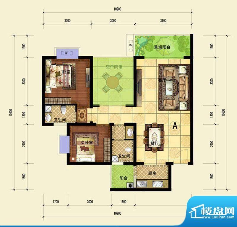 印象森林A户型 2室2面积:89.34平米