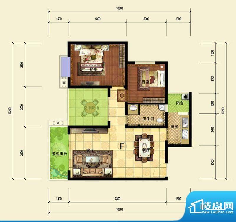 印象森林F户型 2室2面积:89.73平米