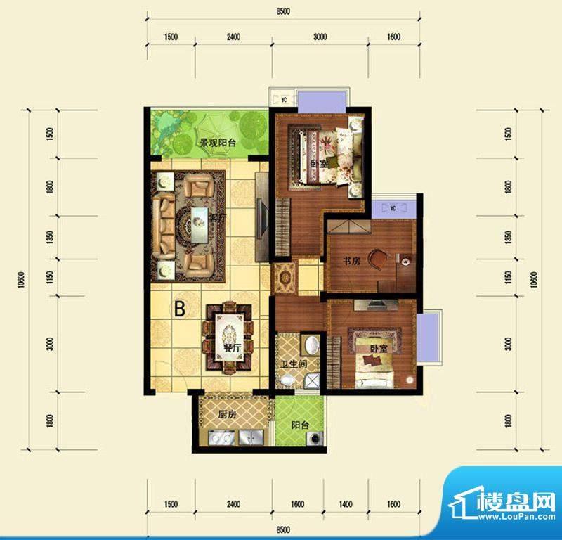 印象森林B户型 2室2面积:87.19平米