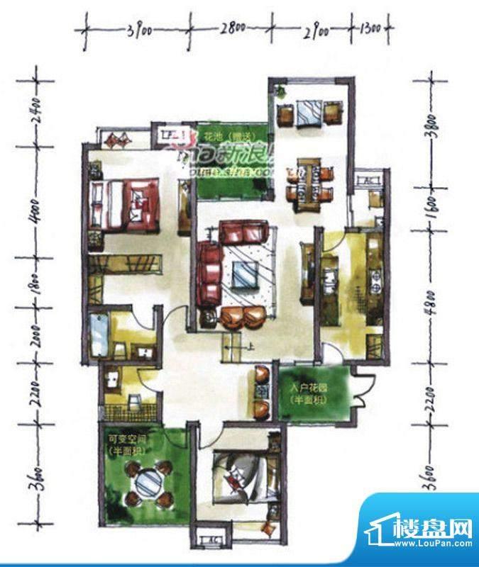 华尔兹庄园A户型 2室面积:133.24平米