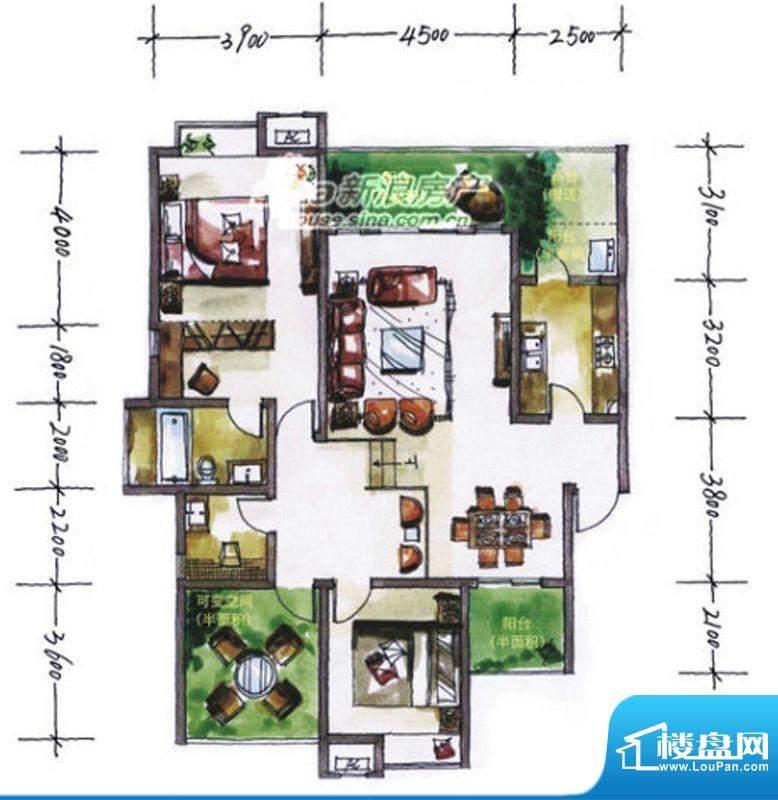 华尔兹庄园B户型 2室面积:125.85平米