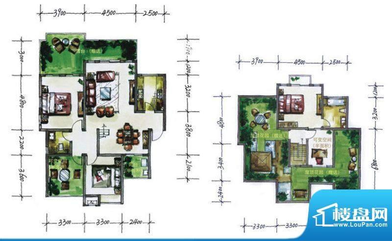 华尔兹庄园C户型 4室面积:153.82平米