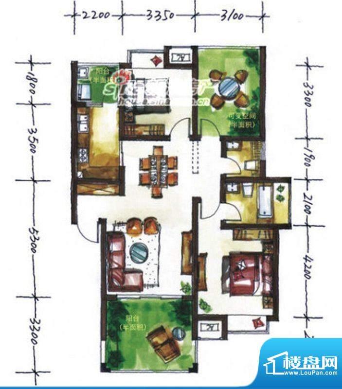 华尔兹庄园D户型 2室面积:105.33平米