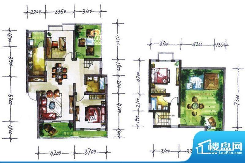 华尔兹庄园F户型 3室面积:119.56平米