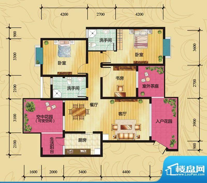 蝶院B1 3室2厅2卫1厨面积:119.30平米