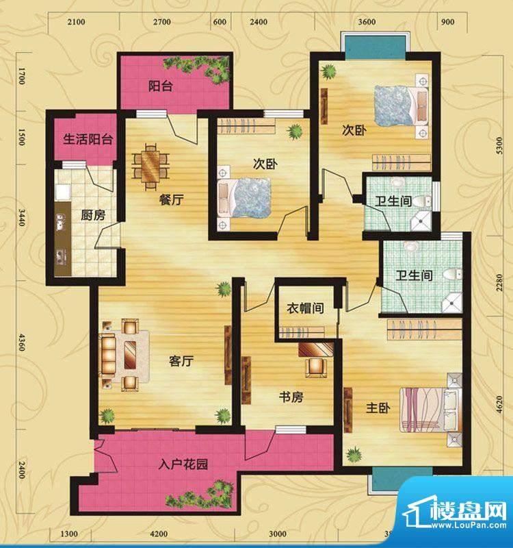 蝶院C 3室2厅2卫1厨面积:137.24平米