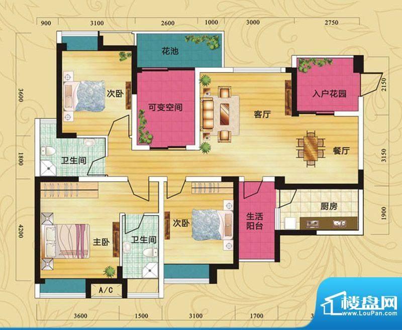 蝶院G2 3室2厅2卫1厨面积:118.02平米